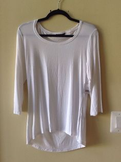 NWT TAHARI WOMEN'S SOLID WHITE RAYON/SPANDEX 3/4 SLEEVE BLOUSE SIZE M-$78 #Tahari #Blouse