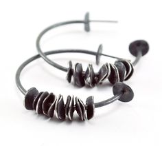 Reticulated Sterling Silver Earrings. Black. by mariagotijoyas, €52.00