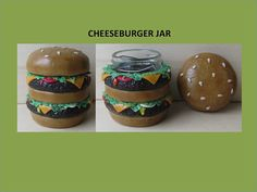 Double Cheeseburger Stash Jar Upcycled Small 1.5 by ColorfulClay