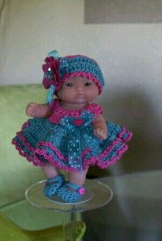 Berenguer DOll in crochey dress