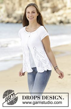 Jacket with lace pattern and raglan, worked bottom up in DROPS Muskat. Size: S - XXXL. Free pattern by DROPS Design.