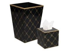 Gold Rope Trellis on Black Wastebasket and Tissue Box Set from www.wellappointedhouse.com