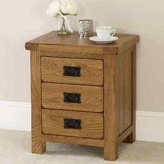 Rustic oak 3 #drawer #bedside table - solid bedroom #furniture lamp side - rs01,  View more on the LINK: http://www.zeppy.io/product/gb/2/291681752589/