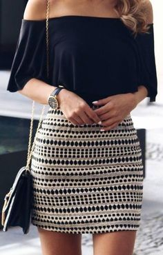 #spring #summer #fashionistas #outfitideas | Black Off The Shoulder Top   Aztec Print Skirt