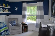 would love to do something like this in the master and in the boys rooms with the paneling, strong wall color and drapes