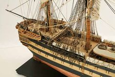 Close-up photos of ship model HMS Wellesley. HMS Wellesley was launched at Bombay in 1815 as a 74 gun ship. Model Ship Building, Old Sailing Ships, Close Up Photos, Hms Victory, Model Ships, Ship Of The Line, Wooden Ship, Tall Ships, Pirate Ships