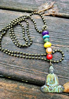 patina Buddha stature with gemstone to match the chakra, necklace, bronze ball chain, yoga jewelry  http://www.mckeejewelrydesigns.com/ 	 Andria McKee, McKee Jewelry,  McKee Jewelry Designs,   Hand made jewelry, jewellery