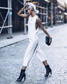 New Outfit on www.thehautepursuit.com - back in all white & in my Koko's from @stuartweitzman ph: @jeffthibodeauco