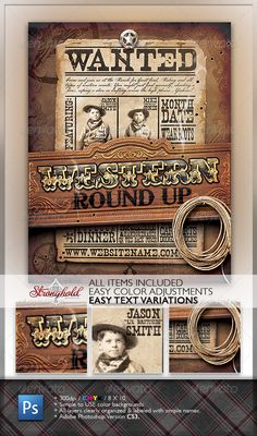 Wild West Event Flyer — Photoshop PSD #Round Up #bullet holes • Available here → https://graphicriver.net/item/wild-west-event-flyer/1317892?ref=pxcr