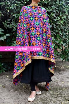 Phulkari Dupatta Shop Online in USA. Visit our website to Buy www.pinkphulkari.com Image©️PinkPhulkari California African Fashion, Fashion Women, Women's Fashion, Indian Wear, Scarfs, Shawl, Harem Pants, Bollywood, California