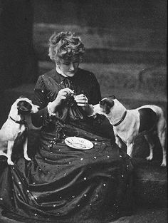 Ellen Terry with her Jack Russell Terriers, Fussie and Drummie, ca. 1885.