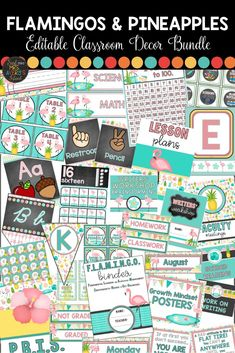 If you are looking for the ultimate FLAMINGO CLASSROOM THEME DECOR, this editable flamingos and pineapples packet is FULL of classroom management ideas, printables to complete your bulletin boards, anchor charts , and so much more!  Click the link to grab this HUGE bundle of back to school essentials and get ready to FLAMINGLE with your FLOCK throughout the entire school year! #flamingos #flamingoclassroomideas #classroomdecor #backtoschool #classroommanagement #letsflamingle