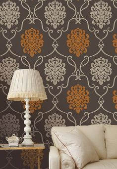 Espresso brown and extra cream, with a vitamin C burst of mandarin orange! This modern damask wallpaper treats your walls to a highly dimensional matte grain effect, and a cultured allure. Orange Wallpaper, Damask Wallpaper, Wallpaper Decor, Home Wallpaper, Wallpaper Ideas, Accent Wallpaper, Contemporary Wallpaper, Contemporary Interior Design, Decor Interior Design