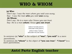Difference between WHO & WHOM #learnenglish @AntriParto
