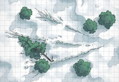 The Icy Battle Site, a battle map for D&D / Dungeons & Dragons, Pathfinder, Warhammer and other table top RPGs. Tags: snow, plains, forest, ice, wilderness, encounter