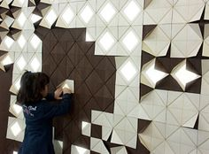 Modular wall decoration Lighting is a form Lighting System consists of a variable number of identical, mutually dependent modules, articulated as a dynamic mosaic that interacts with the user.