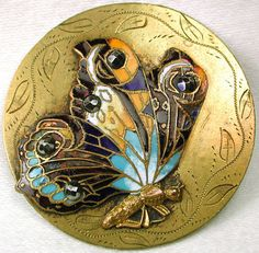 Ex Lg Antique French Enamel Button Colorful Butterfly w/ Cut Steels