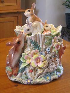 Fitz & Floyd Cookie Jar Woodland Deer Rabbits by CuriousCatVintage.Etsy.com