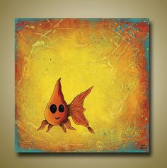 cute Goldfish Print Bright Colors  12 x 12 by BrittsFineArt