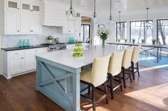 6. The Ultimate in Entertaining With a kitchen that opens up beautiful to the outside, the choice to have a long island with ample seating is a smart one. 7. A Statement Backsplash Tall and gorgeous, there's a lot to love about this dream kitchen design. But, what really makes it stand out is the …