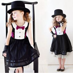 Retro  Baby Girl Kids Princess Party Patchwork Tuxedo Bow Dress 1-6Yrs Clothes