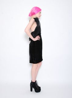 80s Black Crushed Velvet Nolan Miller Dress - 1980s Pleated Orgami Ruffled Party Cocktail Dress with Rhinestone Brooch - M 8