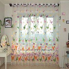 Butterfly Printed Sheer Window Curtains Tulle Door Window Screen - Newchic