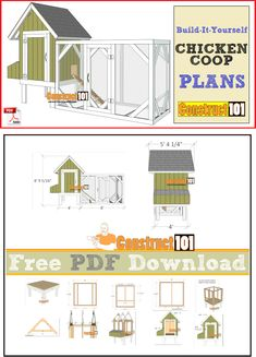 Cicken coop and run plans, free PDF download, cutting list, and shopping list. #DiyWoodProjectsEasyHolidays