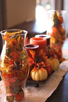 Fall maple centerpiece for 2014 Thanksgiving - pumpkin, decorations