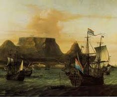 View of Table Bay with ships of the Dutch East India Company, c. South Africa Safari, Flying Dutchman, East India Company, Le Cap, Historical Pictures, African History, Art Reproductions, Cape Town, Food Photography