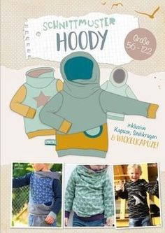 """Hoody E-Book Schnittmuster The e-book includes the pattern for the Lybstes """"Hoody"""" pullover with three different hood and collar variants! There is the possibility to subdivide and sew a bag! Baby Clothes Patterns, Kids Patterns, Sewing Patterns, Sewing Projects For Kids, Sewing For Kids, Vêtements Goth Pastel, Vêtement Harris Tweed, Baby Hoodie, Sewing Tutorials"""