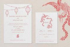 modern letterpress chinese wedding invitation