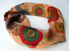 silk scarf  Paisley  Hand painted silk scarf in India by SilkMood