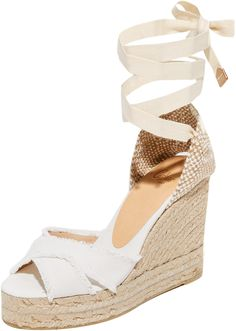 9140a6cf63f Castaner Fringed Canvas Wedges