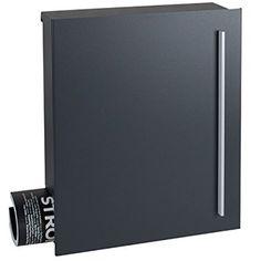 Design-Briefkasten mit Zeitungsfach MOCAVI Box 110 anthrazitgrau (RAL 7016) mit Zeitungsfach Wandbriefkasten