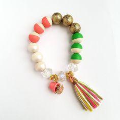 Flower pot charm tassel bracelet-Beaded Bracelet-Girls Summer Jewelry-Handmade Bracelet-Handpainted wooden bead-Girls Jewelry-Ladies Jewelry by TheRockinBead on Etsy
