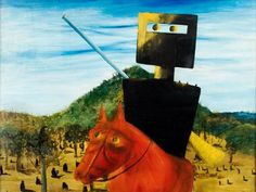 Ned Kelly by Australian painter Sidney Nolan, 1947 Ned Kelly, Australian Painting, Australian Artists, Sidney Nolan, Arthur Boyd, Aboriginal Artists, Native American Indians, Contemporary Artists, Surrealism