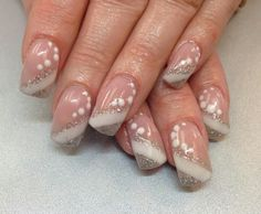 Simple but cute ~ white and silver glitter nail designs