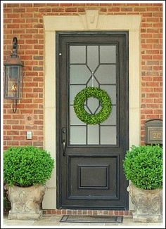 Love This Charcoal Front Door With The Frosted Gl On A Brick House For Similar Look Try Phantom Mist Pittsburgh Paints Stains From Menards