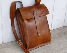 RESERVED FOR ALEXANDER Leather Backpack - Rucksack Style Light Brown