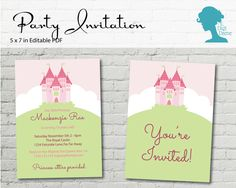 Princess Castle Party Invitation $10AUD by The Digi Dame Printable Party Decor thedigidame.com