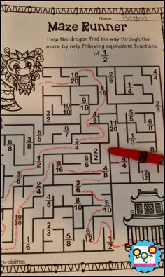 Chinese New Year maze with equivalent fractions! $ #fractions #Chinesenewyear