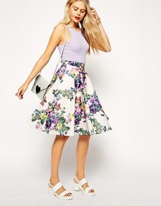 ASOS Midi Skirt in Scuba in Pastel Floral Print