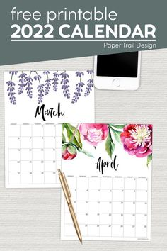 Print these free and beautiful 2022 calendar pages and stay organized at home, in the office, or at school. Free Printable Calendar Templates, Printable Planner Pages, Free Printables, 30th Birthday Themes, Paper Trail, Calendar Pages, Thank You Cards, Floral, School
