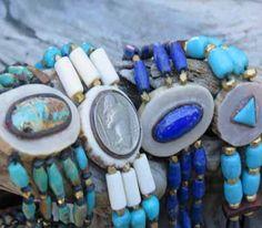 Lapis leather Bracelets, deer antler choker style bracelet at TheTurquoiseMine