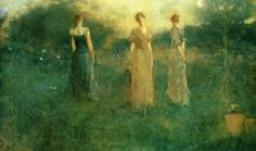 Women in Painting by Thomas Wilmer Dewing American Tonalist Artist -     Love the hues