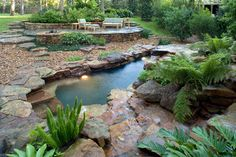 Natural Waterfall & Swimming Pool - tropical - pool - houston - Exterior Worlds Landscaping & Design Backyard Pool Designs, Small Backyard Pools, Ponds Backyard, Swimming Pool Designs, Garden Ponds, Small Pools, Garden Gate, Koi, Natural Waterfalls