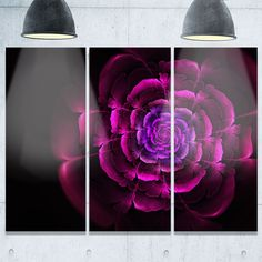 Fractal Rose in Dark - Floral Abstract Glossy Metal Wall Art - 36Wx28H