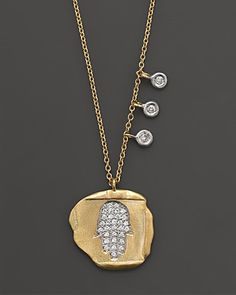 "Meira T 14K Yellow Gold Hamsa Bezel Necklace, 16"" | Bloomingdale's"