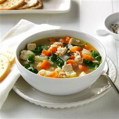 Turkey & Vegetable Barley Soup Recipe -Using ingredients on hand, I stirred up this turkey and veggie-packed soup. If you have them, corn, beans and celery are great here, too. —Lisa Wiger, St. Michael, Minnesota